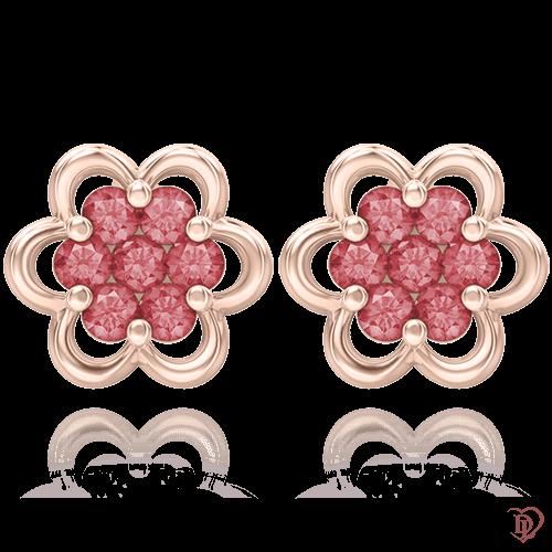 <p>Серьги в розовом золоте со вставками: рубины</p>  0004807