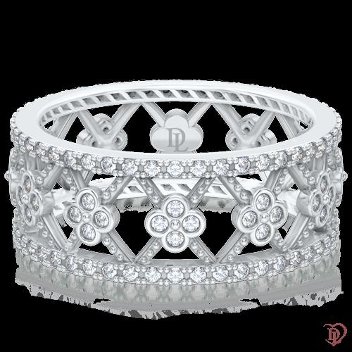<p>Каблучка в білому золоті зі вставками: діаманти</p>  0005223