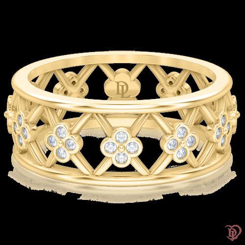 <p>Каблучка в жовтому золоті зі вставками: діаманти</p>  0005234
