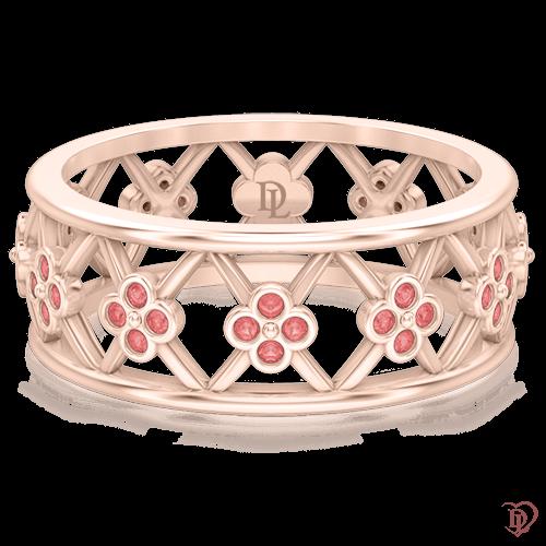 <p>Кольцо в розовом золоте со вставками: сапфиры</p>  0005237