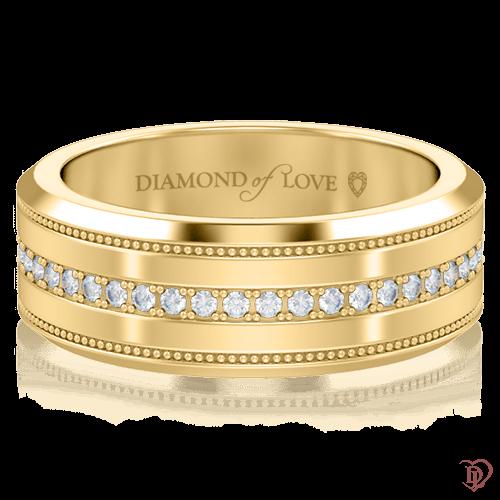 <p>Обручка в жовтому золоті зі вставками: діаманти</p>  <p><br /> Обручка для нареченої Таємниця: Нескінченність з жовтого золота та діамантовою доріжкою класичного дизайну, виглядає гармонійно і врівноважено. Золота весільна каблучка - не просто красива прикраса, в першу чергу - це символ, що відображає ваші почуття і бажання. Ефектна гра сонячних променів, що відбивається в дорогоцінному камінні при кожному русі, не залишить байдужою дівчину з витонченим смаком. Єдине ціле утворює з чоловічою моделлю з цієї ж колекції.</p>  0005794