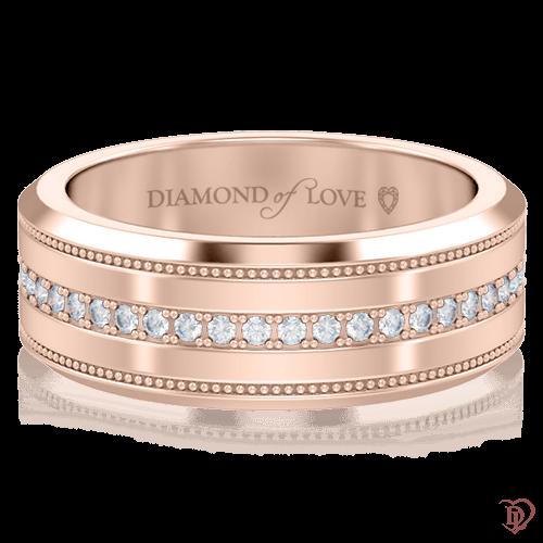 <p>Обручка в рожевому золоті зі вставками: діаманти</p>  <p><br /> Обручка для нареченої Таємниця: Нескінченність з рожевого золота та діамантовою доріжкою класичного дизайну, виглядає гармонійно і врівноважено. Золота весільна каблучка - не просто красива прикраса, в першу чергу - це символ, що відображає ваші почуття і бажання. Ефектна гра сонячних променів, що відбивається в дорогоцінному камінні при кожному русі, не залишить байдужою дівчину з витонченим смаком. Єдине ціле утворює з чоловічою моделлю з цієї ж колекції.</p>  0005797