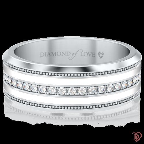 <p>Обручка в білому золоті зі вставками: діаманти, емаль</p>  <p>Золота обручка Таємниця: Натхнення в білому золоті з емаллю і діамантами - скарб, що володіє особливою цінністю, яку складно виміряти, але легко відчути. Класична стриманість і лаконічні форми, окреслені доріжкою з дорогоцінних каменів, припадуть до смаку любителькам сучасної класики. Елегантно красива обручка, безумовно, стане Вашою першою сімейною реліквією.</p>  0006343