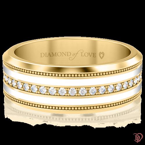 <p>Обручка в жовтому золоті зі вставками: діаманти, емаль</p>  <p>Золота обручка Таємниця: Натхнення в жовтому золоті з емаллю і діамантами - скарб, що володіє особливою цінністю, яку складно виміряти, але легко відчути. Класична стриманість і лаконічні форми, окреслені доріжкою з дорогоцінних каменів, припадуть до смаку любителькам сучасної класики. Елегантно красива обручка, безумовно, стане Вашою першою сімейною реліквією.</p>  0006344