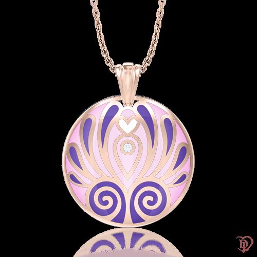 <p>Підвіс в рожевому золоті зі вставками: діаманти, емаль</p>  0006847