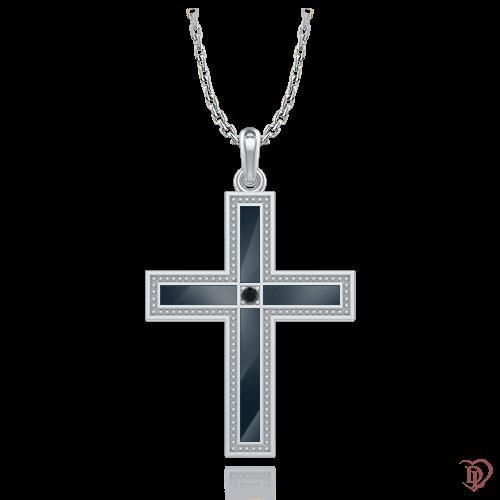 <p>Крест в белом золоте со вставками: бриллианты, эмаль</p>  0006913