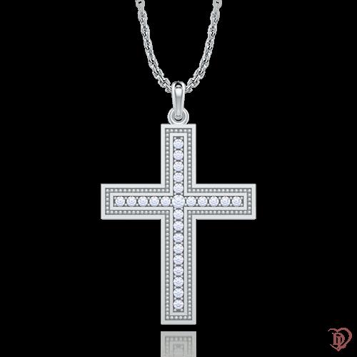 <p>Хрест в білому золоті зі вставками: діаманти</p>  <p>Золотий натільний хрестик з колекції Таємниця: Нескінченність, виконаний в білому золоті і усипаний сяючими діамантами. Благородство золота, блиск дорогоцінного каміння, класична форма, завжди знаходяться поза стилістичних рішень, поза часом. Перейнятий духовним змістом, декоративний хрестик, неодмінно принесе власниці гармонію і душевну теплоту. Прекрасний подарунок дорогій серцю людині.</p>  0006983