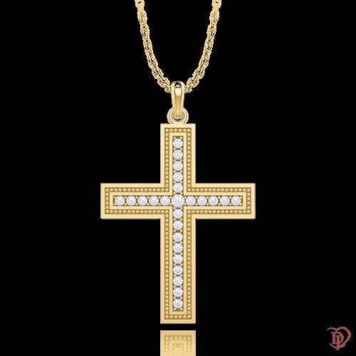 <p>Хрест в жовтому золоті зі вставками: діаманти</p>  <p>Золотий натільний хрестик з колекції Таємниця: Нескінченність, виконаний з жовтого золота і усипаний сяючими діамантами. Благородство золота, блиск дорогоцінного каміння, класична форма, завжди знаходяться поза стилістичних рішень, поза часом. Перейнятий духовним змістом, декоративний хрестик, неодмінно принесе власниці гармонію і душевну теплоту. Прекрасний подарунок дорогій людині.</p>  0006984