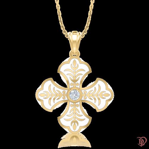<p>Хрест в жовтому золоті зі вставками: емаль, діаманти</p>  <p>Ексклюзивний хрест Таємниця: Вірність в жовтому золоті наповнений духовним змістом і естетичною виразністю. Ювелірна емаль і бездоганний діамант в центрі золотих пелюсток сплітаються в єдину унікальну композицію. Декоративний хрестик прекрасний вибір як на кожен день, так і для особливого випадку. Витончений золотий підвіс стане оберегом для близької та коханої людини.</p>  0007114