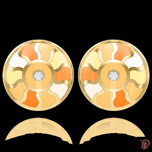 <p>Серьги в желтом золоте со вставками: бриллианты, эмаль</p>  0007144