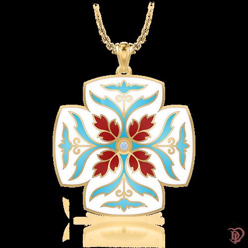 <p>Хрест в жовтому золоті зі вставками: діаманти, емаль</p>  <p>Оригінальний і яскравий, сучасний і стильний хрест Таємниця: Джерело з унікальним дизайном, виконаний з жовтого золота. Головний елемент прикраси - візантійський орнамент з дорогоцінної емалі і діамантом в центрі композиції. На шкіряному шнурі або на золотому ланцюжку, декоративний хрест стане не тільки безпрограшним доповненням для будь-якого образу, сезону і настрою, а й джерелом вашого натхнення.</p>  0007284