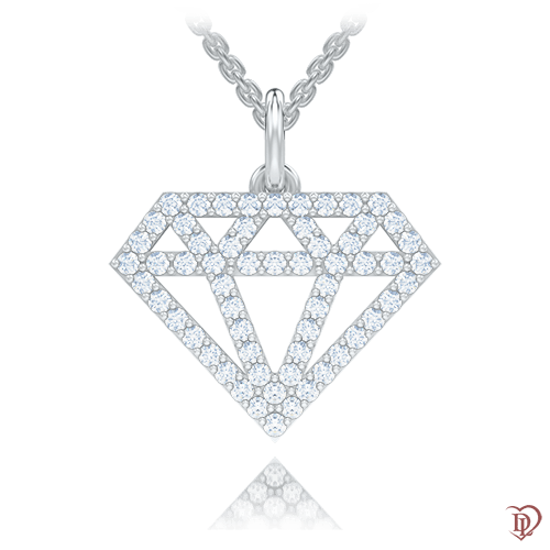<p>Підвіс в білому золоті зі вставками: діаманти</p>  0007713