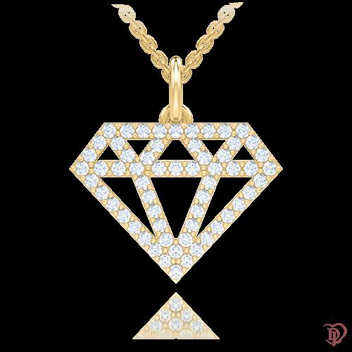 <p>Подвес в желтом золоте со вставками: бриллианты</p>  0007714