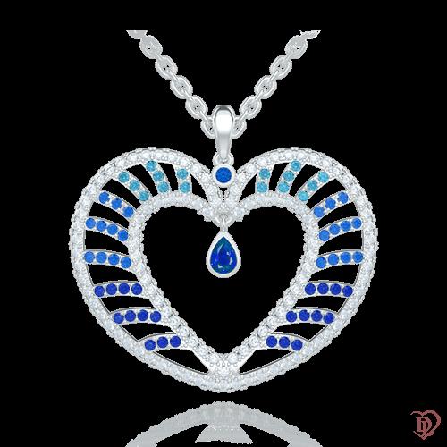 <p>Підвіс в білому золоті зі вставками: діаманти, сапфіри, топази</p>  <p>Золотий кулон у формі серця Едем: Чаша Достатку з іскристим феєрверком каменів - ніжність в дорогоцінному обрамленні з білого золота. Серце інкрустоване діамантами, сапфірами і топазами - символ, що відображає почуття і бажання. Чудовий підвіс піднесений як подарунок, красномовно продемонструє ваше особливе ставлення і стане частиною вашої щасливої історії. В ансамблі з сережками і каблучкою, виконаними в цьому ж стилі, з цієї ж колекції, складе гармонійний і яскравий гарнітур.</p>  0009103
