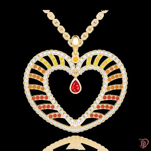 <p>Підвіс в жовтому золоті зі вставками: діаманти, сапфіри, цитрини, морганіти</p>  <p>Підвіска у формі серця Едем: Чаша Достатку, виконана з жовтого золота і прикрашена діамантами, морганітами, сапфірами і цитринами, - справжня знахідка для тих, хто закоханий і шукає оригінальний спосіб зізнатися в своїх почуттях, і для тих, хто давно щасливий в сімейному союзі , але все одно продовжує зізнаватися в коханні своїй половинці. Яскравий, життєрадісний золотий підвіс, ефектно досягне своєї мети і назавжди збереже в пам'яті коханої цей дорогоцінний момент.</p>  0009104