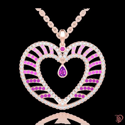 <p>Підвіс в рожевому золоті зі вставками: топази, аметисти, сапфіри</p>  <p>Ексклюзивна підвіска Едем: Чаша Достатку - прикраса, натхнена любов'ю. Неймовірно красивий кулон в якому незвично поєднуються лавандові аметисти, рожеві сапфіри і безбарвні топази в оправі з золота. Поєднання каменів з неповторною грою відтінків і ексклюзивним дизайнерським рішенням підкорить вас з першого погляду. Серце закріплено рухомо, що дозволяє йому переливатися і виблискувати ще більше. Ніжне і символічна прикраса, у фірмовій упаковці, стане для коханої самим незабутнім подарунком, який ніколи не втратить своєї цінності. Купити золоту підвіску можна як окремо, так і в комплекті з сережками і каблучкою.</p>  0009107