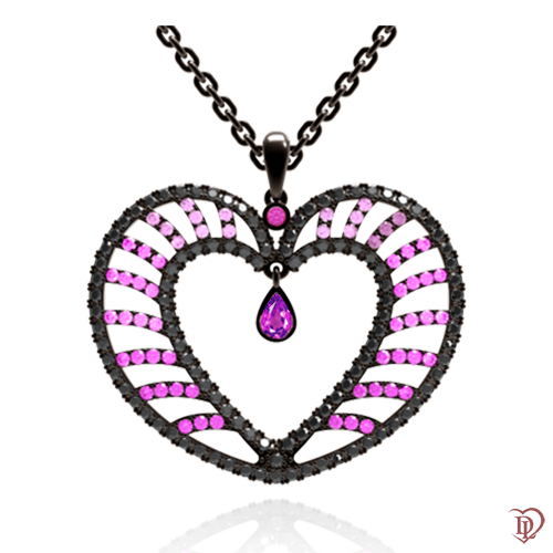 <p>Підвіс в комбінованому золоті зі вставками: діаманти, аметісти, сапфіри</p>  <p>Ексклюзивна підвіска Едем: Чаша Достатку - прикраса, натхнена любов'ю. Неймовірно красивий кулон в якому незвично поєднуються лавандові аметисти, рожеві сапфіри і чорні діаманти в оправі з комбінованного золота. Поєднання каменів з неповторною грою відтінків і ексклюзивним дизайнерським рішенням підкорить вас з першого погляду. Серце закріплено рухомо, що дозволяє йому переливатися і виблискувати ще більше. Ніжне і символічна прикраса, у фірмовій упаковці, стане для коханої самим незабутнім подарунком, який ніколи не втратить своєї цінності. Купити золоту підвіску можна як окремо, так і в комплекті з сережками і каблучкою</p>  0009108