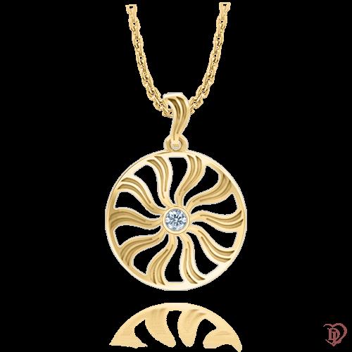 <p>Підвіс в жовтому золоті зі вставками: діаманти</p>  <p>Підвіска з діамантами Посмішка неба з жовтого золота, розкриває справжню сутність сучасної дівчини, яка прагне до досконалості в кожній деталі. Від золотого кулона ограненого в стильну оправу, віє жіночністю. Золотий підвіс в поєднанні з сережками цієї ж колекції, ефектно завершить образ як для романтичного побачення, так і ділового обіду.</p>  0009724