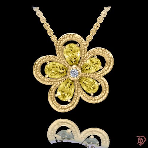 <p>Кольє в жовтому золоті зі вставками: діаманти, сапфіри</p>  <p>Золоте кольє з підвіскою у вигляді квітки Едем: Колір аромату, підкреслює натуральність і первозданність самоцвітів, створених самою природою. Золоте кольє наділене м'якою та елегантною формою, точністю і яскравою індивідуальністю. Теплий природний колір жовтих сапфірів створює відчуття тепла, притягує погляди своєю витонченою красою та досконалим дизайном. Майстри DIAMOND of LOVE зуміли передати душу природної скарбниці. Чарівна прикраса завжди буде радувати свою господарку, нагадуючи про сонячні дні. Живіть яскраво!</p>  0009734