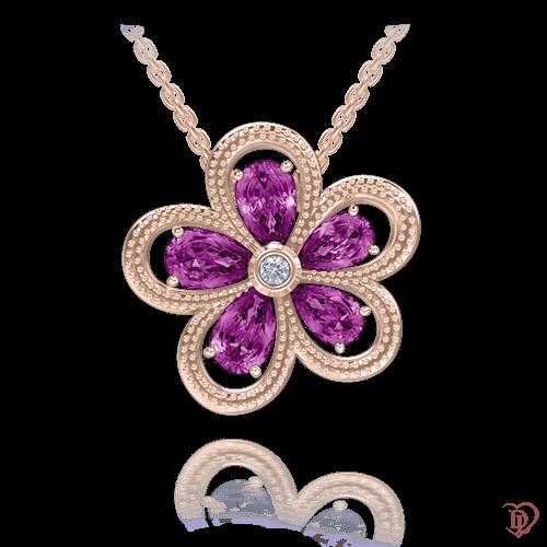 <p>Кольє в рожевому золоті зі вставками: діаманти, аметисти</p>  <p>Золоте кольє з діамантами та аметистами Едем: Колір аромату зачаровує блиском і грою кольору. Лавандовий відтінок аметисту наповнить душу ніжністю і теплом. Від дорогоцінної квітки, що прикрашає золоте кольє, неможливо відвести погляд. Відмінний вибір для тих, хто вирішив порадувати себе або близьку людину дорогоцінним подарунком. Прикраса просто створена підкреслити природну красу своєї власниці. Золота квітка, безумовно, прекрасний сюрприз для жінки будь-якого возраста. Чудовим доповненням до кулона стануть сережки з цієї ж колекції.</p>  0009737