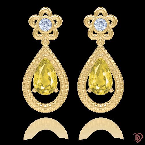 <p>Серьги в желтом золоте со вставками: бриллианты, сапфиры</p>  <p>Лейтмотивом дизайна эксклюзивных сережек Эдем: Цвет аромата стал флористический мотив. Изящество каждой линии безупречно переданы в драгоценном украшении. Утонченные серьги оправлены в желтое золото. Солнечный сапфир, украшающий подвесной элемент сережек, отлично сочетается с бесцветными бриллиантами. Серьги не только дополнят образ, а и доставят эстетическое удовольствие и своей обладательнице, и окружающим. Хотите ощутить весь спектр эмоций? Побалуйте себя эксклюзивным украшением. Замечательно смотрятся и как самостоятельное украшение, так и в комплекте с подвесом. Драгоценности - всегда источник счастья!</p>  0009834