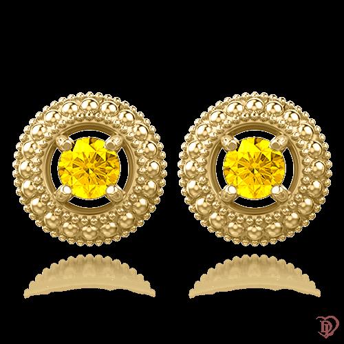 <p>Серьги в желтом золоте со вставками: сапфиры</p>  0009924