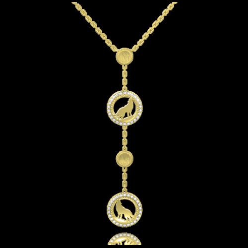 <p>Подвес в желтом золоте со вставками: бриллианты</p>  <p>Утонченное колье Верность: Сила в желтом золоте с безупречными бриллиантами, дополняет серьги из этой же коллекции, образуя&nbsp;восхитительный гарнитур. Мотив волка - воплощение смелости и целеустремленности, создан стать не просто украшением, а оберегом на всю жизнь. Блеск драгоценных камней в сочетании с нежным переливом золотой оправы и искусным талантом ювелиров, превращает изделие&nbsp; в уникальный ювелирный шедевр. Эксклюзивный аксессуар - прекрасный подарок к любому событию, как к Дню рождения, так и к Новому году или к 8 Марта&nbsp;</p>  0013284