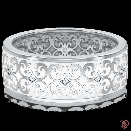 <p>Обручальное кольцо в белом золоте со вставками: бриллианты, эмаль</p>  0014043