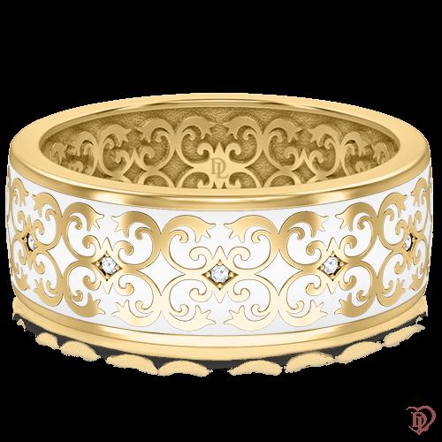 <p>Обручальное кольцо в желтом золоте со вставками: бриллианты, эмаль</p>  0014044