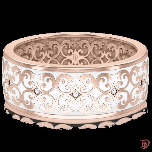 <p>Обручка в рожевому золоті зі вставками: діаманти, емаль</p>  0014047