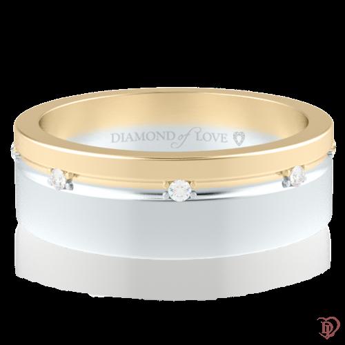 <p>Обручальное кольцо в желтом золоте со вставками: бриллианты</p>  0014314