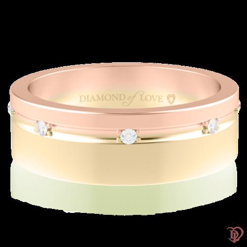 Обручальное кольцо в комбинированном золоте со вставками: бриллианты 0014318