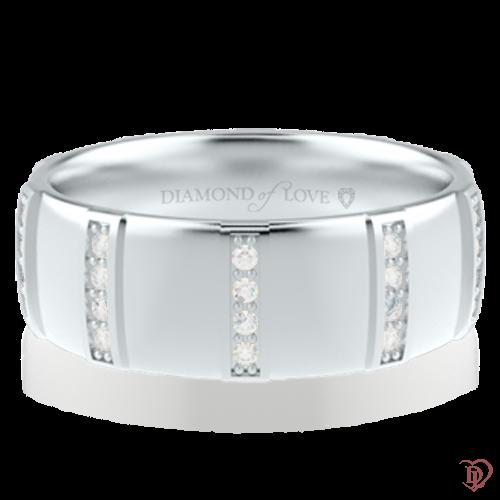 Обручка в білому золоті зі вставками: діаманти 0014333