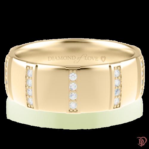 Обручка в жовтому золоті зі вставками: діаманти 0014334