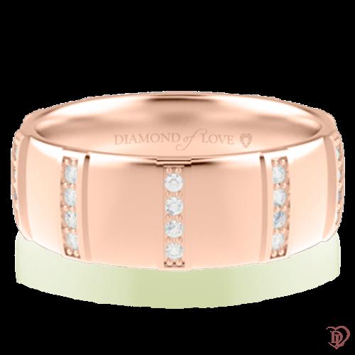 Обручальное кольцо в розовом золоте со вставками: бриллианты 0014337