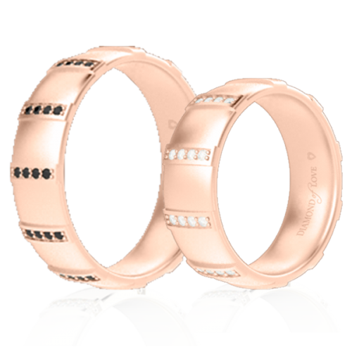 Обручальное кольцо в розовом золоте со вставками: бриллианты 0014347