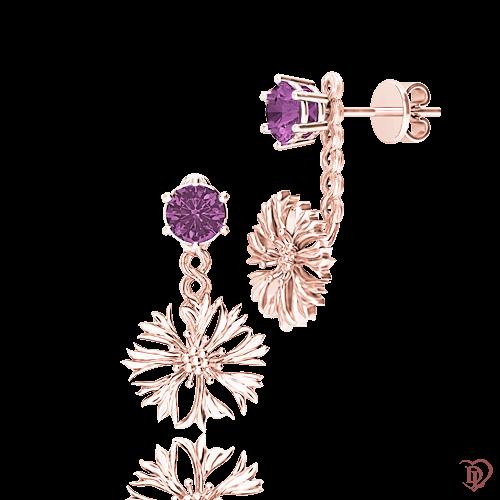 <p>Сережки в рожевому золоті зі вставками: топази</p>  0014797