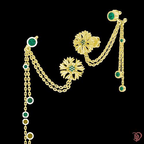 <p>Сережки в жовтому золоті зі вставками: смарагди</p>  0015234