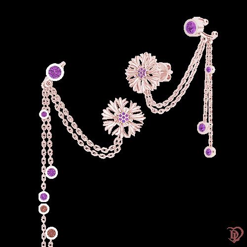 <p>Сережки в рожевому золоті зі вставками: аметисти</p>  0015237