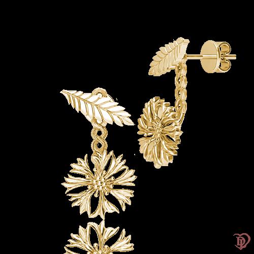 <p>Сережки в жовтому золоті</p>  <p>Золоті сережки-трансформери Ти файна !: Волошка мила створені для тих, хто шукає щось особливе. Функціональні сережки у вигляді золотої квітки з жовтого золота, зі знімною підвіскою, легким рухом руки, трансформуються в витончені гвоздики. Стильні сережки-джекети справжня знахідка для дівчат, схильних до модних експериментів.</p>  0015274