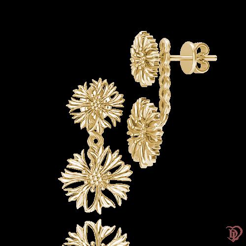 <p>Сережки в жовтому золоті</p>  <p>Сережки джекети з жовтого золота Ти файна !: Волошка єдина - і модний тренд, і відмінна альтернатива пусетам. Зручні, гарні золоті сережки без вставок, підходять для будь-якого випадку. Наявність знімною підвісної частини, яка одягається на гвоздик, дозволить Вам змінюватися щодня. Комбінуючи джекети з будь-яким одягом, ви зможете вільно і легко самовиражатися</p>  0015294
