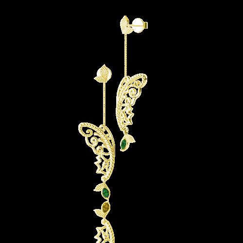 <p>Сережки в жовтому золоті зі вставками: смарагди</p>  0015364