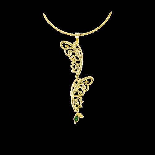 <p>Підвіс в жовтому золоті зі вставками: смарагди</p>  0015384
