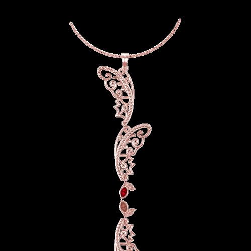 <p>Подвес в розовом золоте со вставками: рубины</p>  0015387