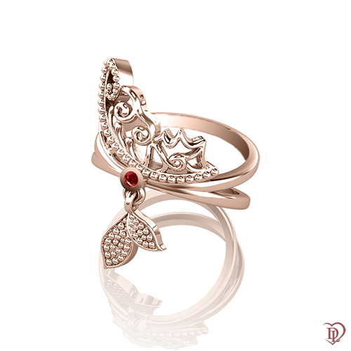 <p>Каблучка в рожевому золоті зі вставками: рубіни</p>  0015397