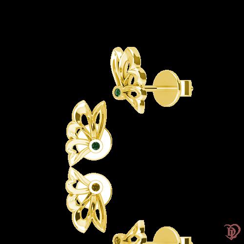 <p>Сережки в жовтому золоті зі вставками: смарагди</p>  0015414