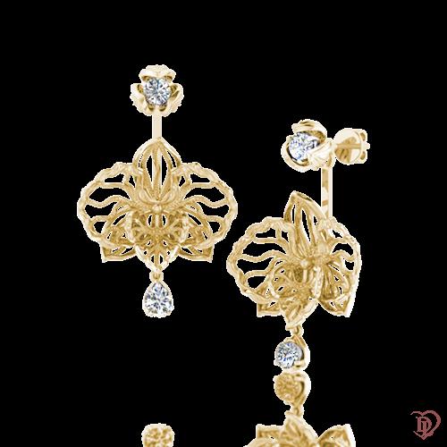 <p>Серьги в желтом золоте со вставками: сапфиры</p>  0016254