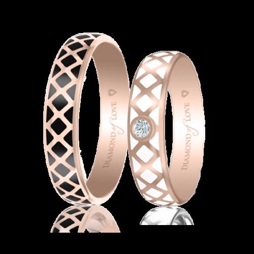 <p>Обручальное кольцо в розовом золоте со вставками: эмаль</p>  0017437