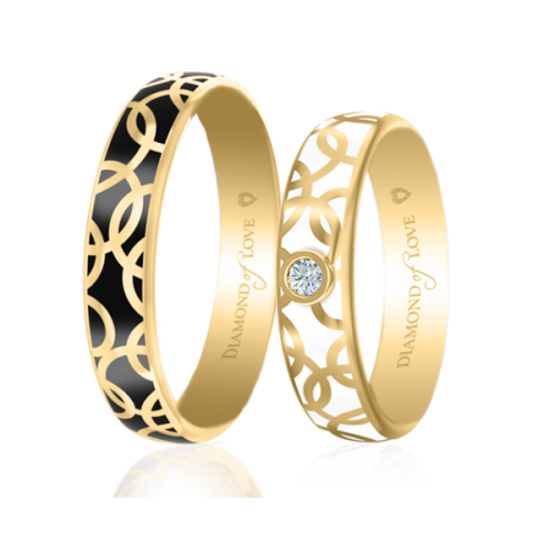 <p>Обручальное кольцо в желтом золоте со вставками: эмаль</p>  0017444