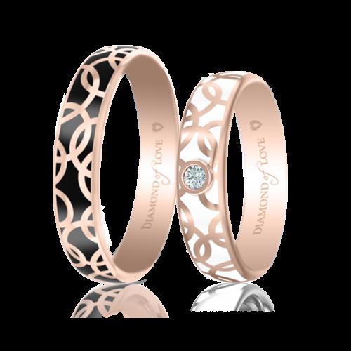 <p>Обручальное кольцо в розовом золоте со вставками: эмаль</p>  0017447